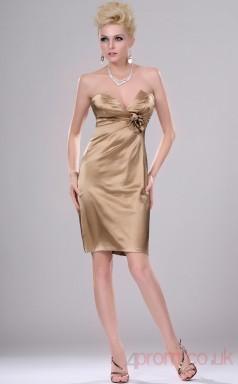 Champagne 100D Chiffon Sheath/Column Strapless Mini Prom Dress(BD04-403)