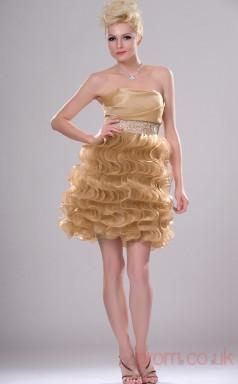Champagne Taffeta A-line Strapless Mini Prom Dress(BD04-405)