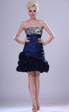 Ink Blue Taffeta A-line Strapless Mini Prom Dress(BD04-406)
