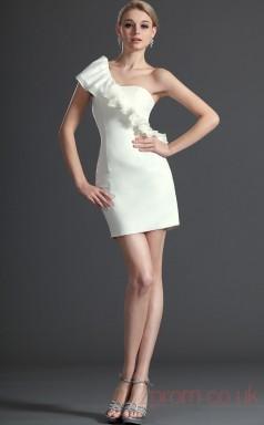 White Taffeta Sheath/Column One Shoulder Short Prom Dress(BD04-414)