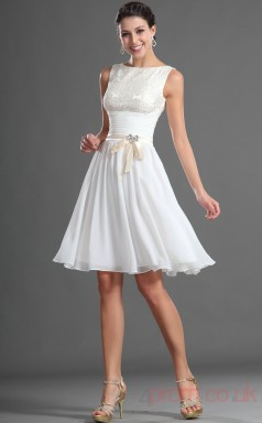 White 100D Chiffon A-line Jewel Short Cocktail Dress(BD04-417)
