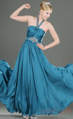 Turquoise 100D Chiffon A-line Halter Floor-length Prom Dress(BD04-464)