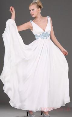 White 100D Chiffon A-line One Shoulder Long Evening Dress-(BD04-470)