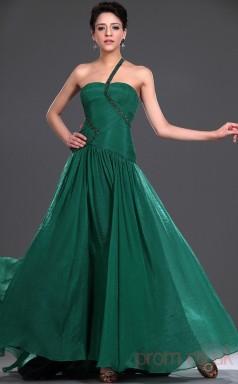 Dark Green 30D Chiffon A-line One Shoulder Floor-length Prom Dress(BD04-476)