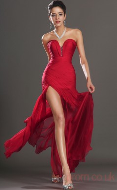 Red 30D Chiffon Trumpet/Mermaid Strapless Sweetheart Floor-length Prom Dress(BD04-483)