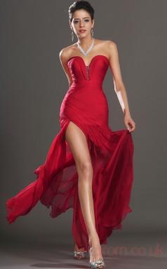 Red 30D Chiffon Trumpet/Mermaid Strapless Sweetheart Floor-length Prom Dress(BD04-483)