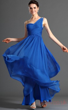 Turquoise 100D Chiffon A-line One Shoulder Floor-length Prom Dress(BD04-484)
