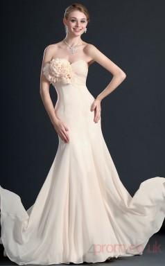 Pearl Pink 100D Chiffon Trumpet/Mermaid Strapless Sweetheart Floor-length Prom Dress(BD04-495)