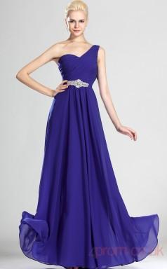 Royal Blue 100D Chiffon A-line One Shoulder Floor-length Prom Dress(BD04-497)