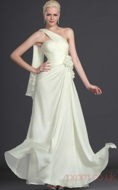 Ivory Satin Chiffon Sheath/Column One Shoulder Floor-length Prom Dress(BD04-501)