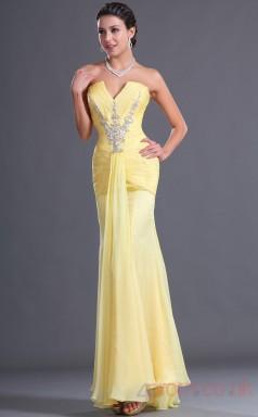 Yellow 100D Chiffon Trumpet/Mermaid Strapless Floor-length Prom Dress(BD04-504)