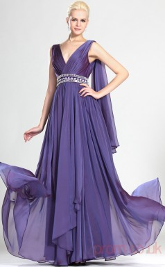 Regency 100D Chiffon A-line V-neck Floor-length Prom Dress(BD04-509)