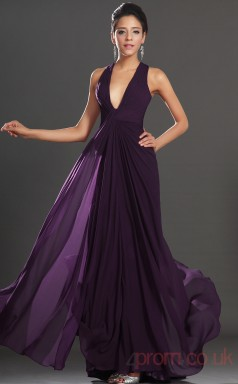 Grape 100D Chiffon Sheath/Column V-neck Floor-length Prom Dress(BD04-512)