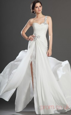 White 100D Chiffon Trumpet/Mermaid One Shoulder Floor-length Prom Dress(BD04-515)