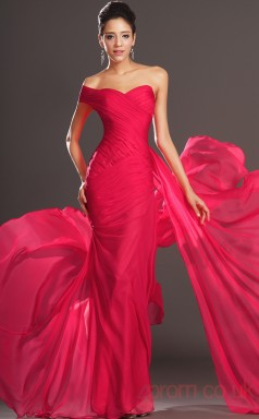 Red 100D Chiffon Trumpet/Mermaid One Shoulder Sweetheart Floor-length Prom Dress(BD04-516)