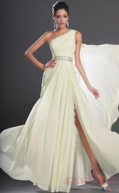 Ivory 100D Chiffon A-line One Shoulder Floor-length Prom Dress(BD04-518)