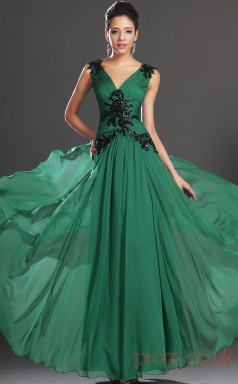 Jade 100D Chiffon A-line V-neck Floor-length Prom Dress(BD04-519)