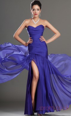 Royal Blue 100D Chiffon Trumpet/Mermaid Strapless Sweetheart Floor-length Prom Dress(BD04-521)