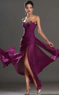 Grape 100D Chiffon Trumpet/Mermaid Strapless Sweetheart Floor-length Prom Dress(BD04-523)