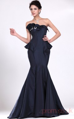 Ink Blue Satin Trumpet/Mermaid Strapless Floor-length Prom Dress(BD04-526)