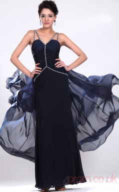 Ink Blue 100D Chiffon Sheath/Column Sweetheart Long Evening Dress-(BD04-528)
