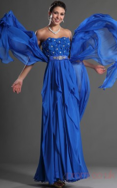 Turquoise 100D Chiffon A-line Strapless Floor-length Prom Dress(BD04-532)