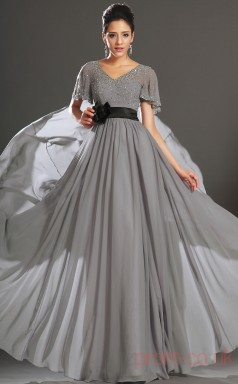 Silver 100D Chiffon A-line V-neck Floor-length Prom Dress(BD04-538)