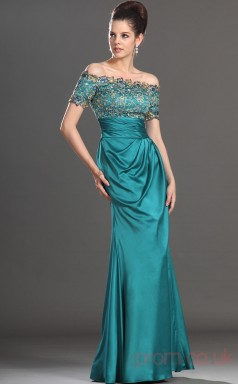 Jade Charmeuse Sheath/Column Off The Shoulder Floor-length Prom Dress(BD04-539)