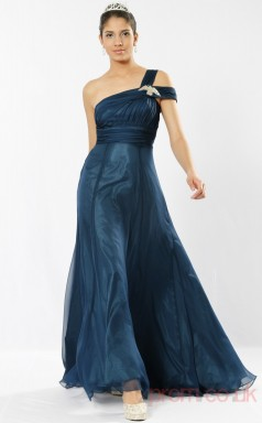 Ink Blue 100D Chiffon A-line One Shoulder Long Evening Dress-(BD04-542)