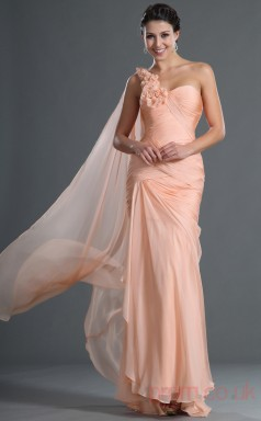 Pearl Pink 100D Chiffon Trumpet/Mermaid One Shoulder Floor-length Prom Dress(BD04-545)