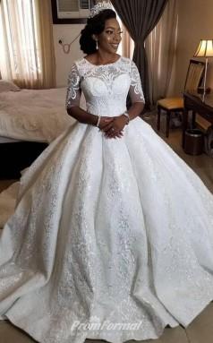 Ball Gown Half Sleeves Sweep Train Wedding Dresses Black Brides BWD012