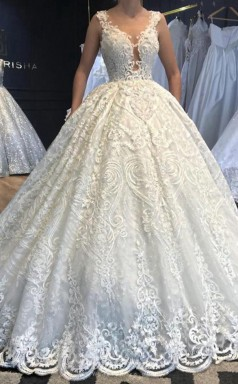 Luxury Ball Gown Beaded Lace Wedding Dress Highly Custom Made BWD019