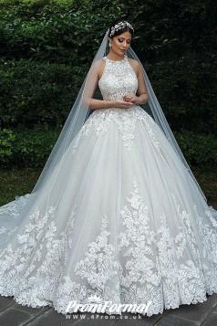 Luxury Ball Gown Lace Muslim Bride Plus Size Wedding Dress BWD022