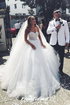 Sweetheart Tulle Bride Ball Gown Honeymoon Lace Bridal Dress BWD025