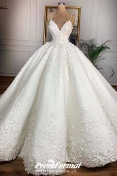 Luxury  Lace 3D Floral Spaghetti Ball Gown Dubai Wedding Dress BWD026