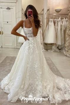 Lace Applique Flowers A-line Wedding Dresses Petite Brides BWD028