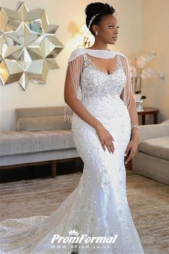 Lace Mermaid Tassles Long Sleeves Luxury Pearls Black Women Plus Size Wedding Dress BWD031