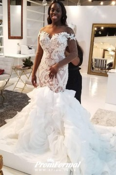 Illusion Long Sleeve Mermaid Plus Size Lace Ruffles Tiered Trumpet Wedding Dress BWD032