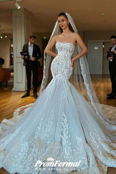 Luxury Slim Lace Mermaid Applique Straight Neckline Wedding Dress BWD034