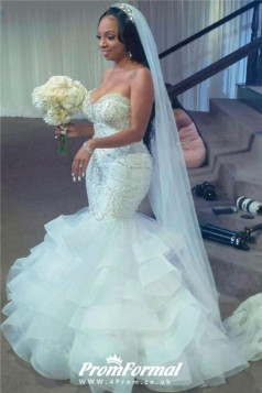 Sexy Plus Size Mermaid Wedding Dress With Beads Sequins Black Brides BWD037