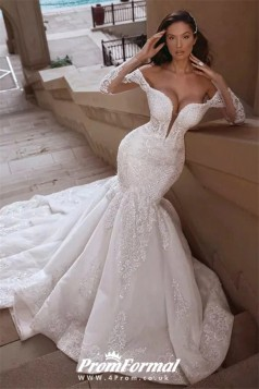 Mermaid Long Sleeve Train Deep V Neck Beading White Wedding Dresses BWD047