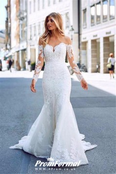 Long Sleeve Mermaid Lace City Street Wedding Dress Glasgow BWD050