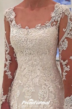 A Line Lace Appliques Long Sleeve Wedding Dresses Liverpool BWD051