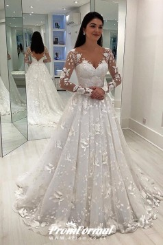 V-Neck A-Line Long Sleeves Wedding Dress V Back Details BWD052