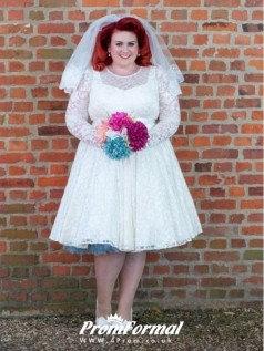1950s Style Plus Size Lace Short Long Sleeve Wedding Dress Older Bride BWD061