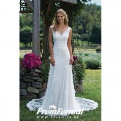 Simple Elegant Lace Mermaid V Neck Wedding Dress Bristol BWD065