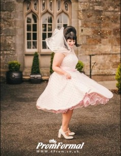 Plus Size 1950s Vintage Tea Length Short Pink Polka Dot Retro Wedding Dress BWD068