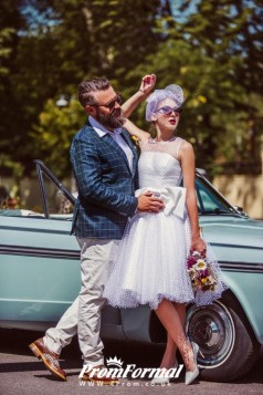 Simple Polka Dots Rockabilly Short Satin Binding 50s Style Pin Up Wedding Dress BWD075