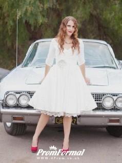 Audrey Hepburn 3/4 Sleeves Rockabilly inspired 50s Short Wedding Dress BWD080
