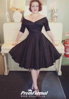 Black Vintage Black Half Sleeve 50s Tea Length Short Wedding Dress BWD085